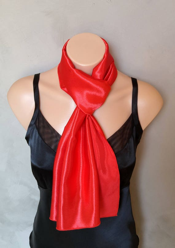 Red Scarf, Red Satin Scarf, Red Reversible Scarf, Red Skinny Scarf, Red Scarves, Satin Red Scarf, Satin Scarf Red, Reversible Red Scarf