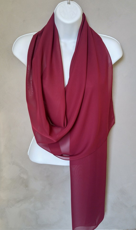 Burgundy Scarf, Burgundy Shawl, Wedding Scarves, Burgundy Wine Scarf, Wine Wrap Scarf, Bridal Scarves, Sheer Chiffon Scarf, Burgundy Scarves