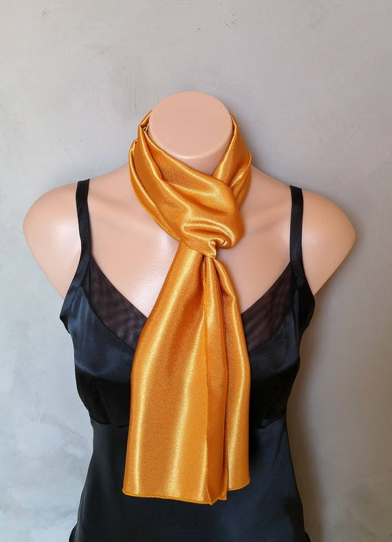 Gold Scarf, Golden Scarf, Satin Scarves, Reversible Scarf, Skinny Scarves, Yellow Scarf, Yellow Scarves, Yellow Skinny Scarf, Free Shipping