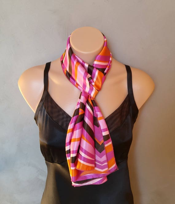 Pink Scarf, Orange Satin Scarf, Black Scarf, Pink Skinny Scarf, Satin Orange scarf, Satin Scarf Pink, Scarf Black, Abstract Satin Scarf