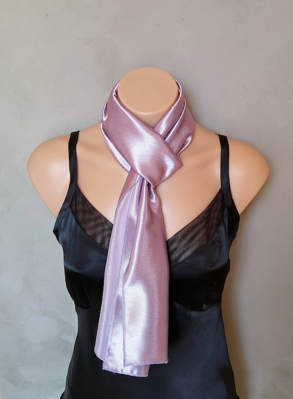 Lilac Scarf, Lavender Satin Scarf, Reversible Scarf, Lilac Skinny Scarf, Purple Scarf, Purple Skinny Scarf, Scarf Lilac, Purple Satin Scarf