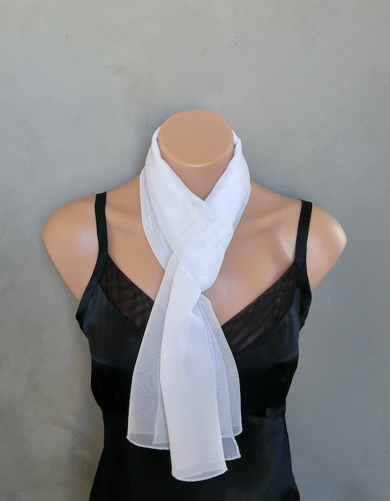 White Scarf, Embroidered Scarf, White Skinny Scarf, Sheer Chiffon Scarf, White Sheer Scarf, White Chiffon Scarf, Scarf Embroidered