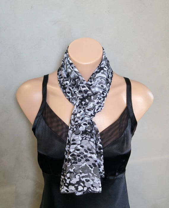 Skinny Scarf, Black Skinny Scarf, Black White Scarf, Chiffon Skinny Scarf, Gift for Her, Gifts Under 20, Sheer Scarves, Fashion Scarves