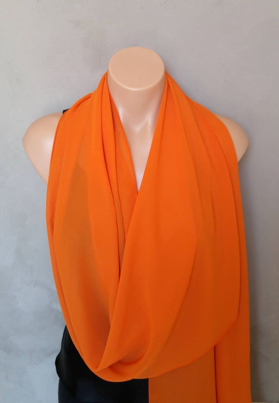 Orange Scarf, Orange Scarves, Sheer Chiffon Scarf, Orange Shawl, Orange Stole, Orange Scarf Wrap, Large Scarves, Free Shipping, Sheer Scarf