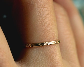 5d7fab79f1d18d sunrise ring 14k gold ring 10k gold sterling sun ring dainty gold ring  solid gold delicate band stacking ring skinny ring SUNRISE BAND