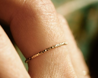 ultra thin ring pebble ring dainty gold band solid gold ring sterling silver textured band stacking ring skinny gold band THIN PEBBLE BAND