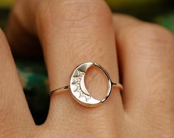 moon ring dainty circle ring solid gold moon ring silver moon ring celestial jewelry celestial ring sterling circle ring LA LUNE RING