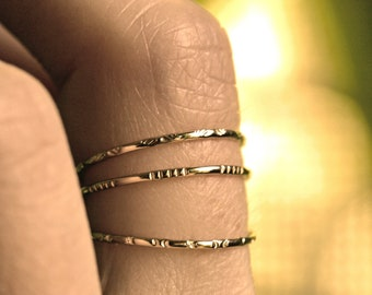 ultra thin ring dainty stacking rings gold stacking ring super skinny gold band dainty silver band textured skinny rings LITTLE CITY RING