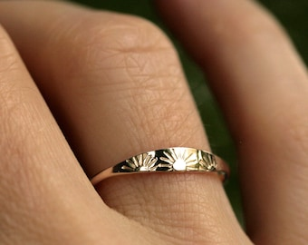 original sun ring sunshine ring dainty solid gold sun ring silver sun ring you are my sunshine 10k ring solid 14k gold ring SUNSHINE RING