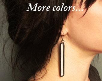 long line earrings ivory earrings modern minimalist earrings white glass long strip earrings boho simple stained glass STRIP EARRINGS