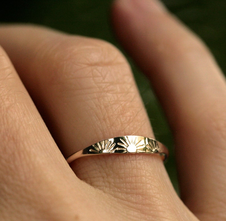 sun ring solid gold ring sterling silver ring dainty gold ring image 0