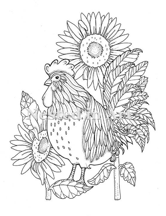 Rooster Farm Animal Coloring Pages - Get Coloring Pages | 738x570