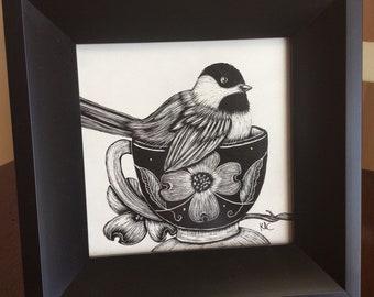 Chickadee in Teacup Scratch Art 5x5 framed original art
