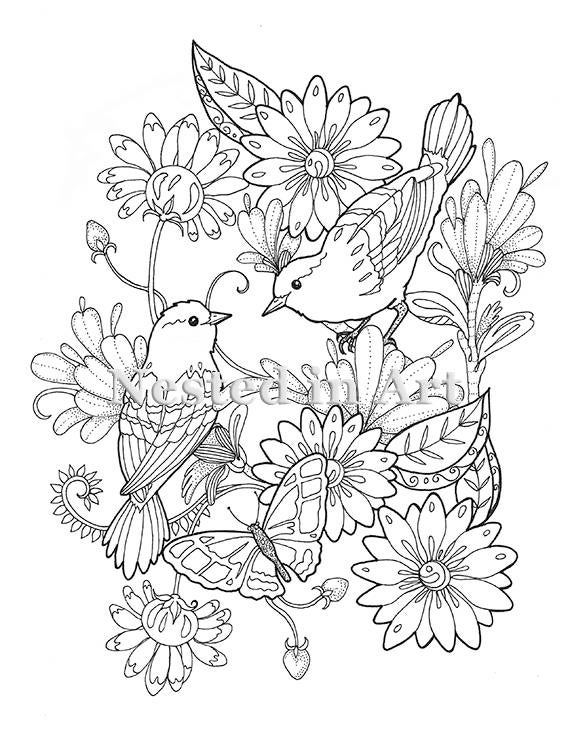 Adult Coloring Page 2 Birds and Butterfly floral design | Etsy