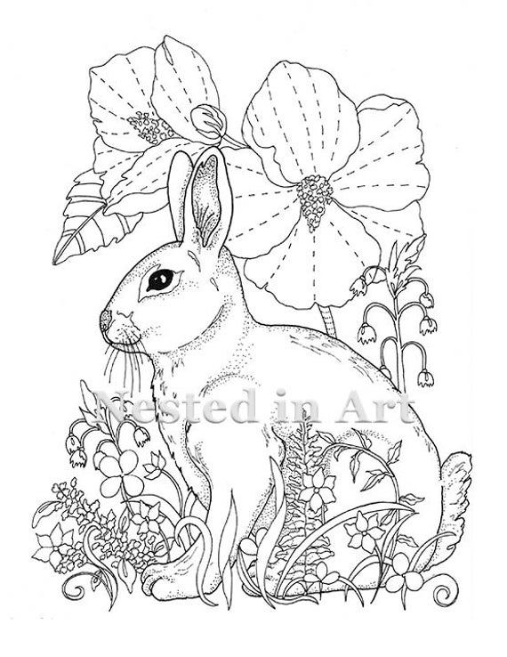 Adult Coloring Page Bunny and Hibiscus Digital Download | Etsy