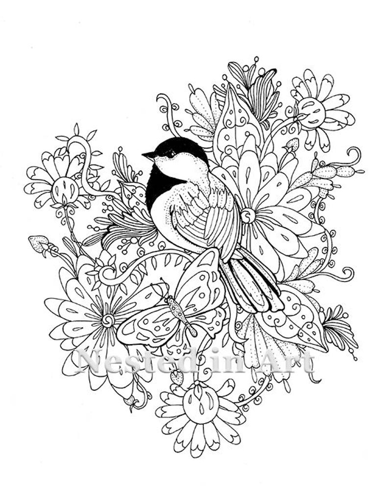 coloring page chickadee with butterfly and flowers