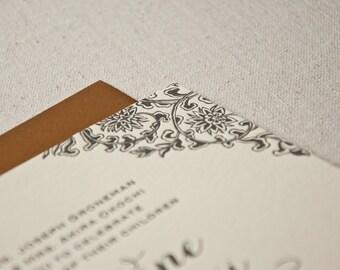 Letterpress Wedding Invitation Sample, Asian Saloon, Floral Corners, Square