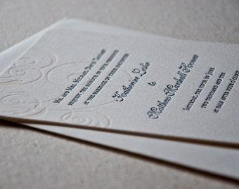 Letterpress Wedding Invitation Sample, Swirling Elegance