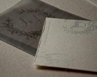 Letterpress Wedding Invitation Sample, Equestrian, Calligraphy, Elegant Colorado