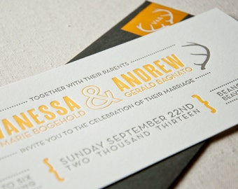 Letterpress Wedding Invitation Sample, antlers, rustic, woodland wedding, modern