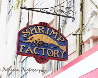 Old  Savannah Photography, Historic Savannah Riverfront Building Photos, Abstract Shrimp Factory Sign Art, Gray Red Blue Pink Home Decor,