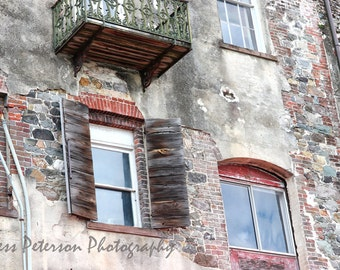 Window Photography, Historic Old Savannah Riverfront Building Art, Abstract Urban Decay Print, Rustic Southern Home Decor, Gray Red Decor,