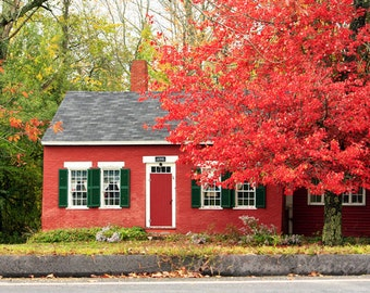 House photos. Maine photography. Fall colors print. Red Green Decor. Country Home Decor. Rustic Wall Art Gift for House warming. Nature Art