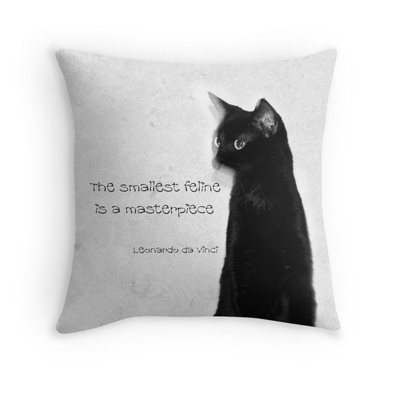 Cat Quote Pillow Cover Abstract Cat Photo Decorative Pillow Etsy