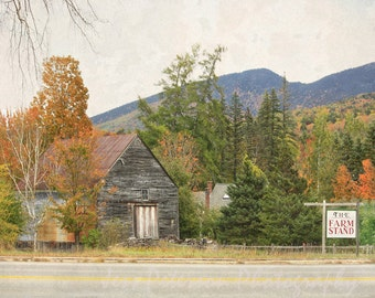 IN STOCK Farm Stand Photo NH Rustic country textured wall art Fall colors Home Decor Landscape Art Print Matted Photo, Large Wall Art Canvas