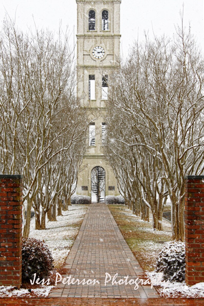 5f87854cfc311 Furman University Photos, Bell Tower prints, Greenville SC Winter Snow  Photography Print, Red, Snow White Home Decor Fine Art Photograph