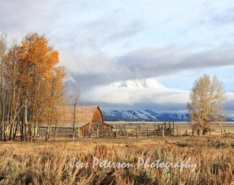 Landscape Photos, Grand Teton Mountains art Moulton Barn art, Rustic Home Decor, Western decor Wyoming Photography Wall Art Mormon Row Print