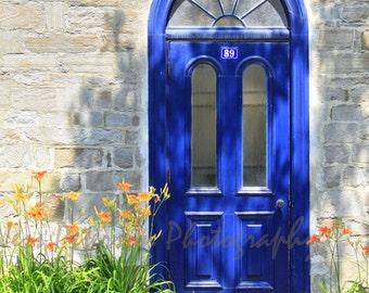 IN STOCK Door Photos Old Quebec City PhotoTravel photography Blue Green Gray Wall Art Home decor, Blue door print, old door art Matted photo