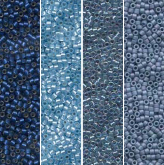 Miyuki Delicas 11//0 Inside Dyed Teel Blue AB Seed Beads DB-058