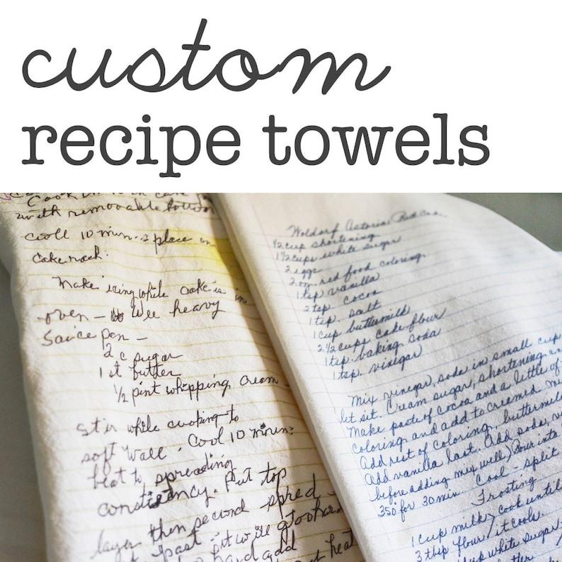 Custom Family Recipe Flour Sack Dish Towels  Made to Order  image 0