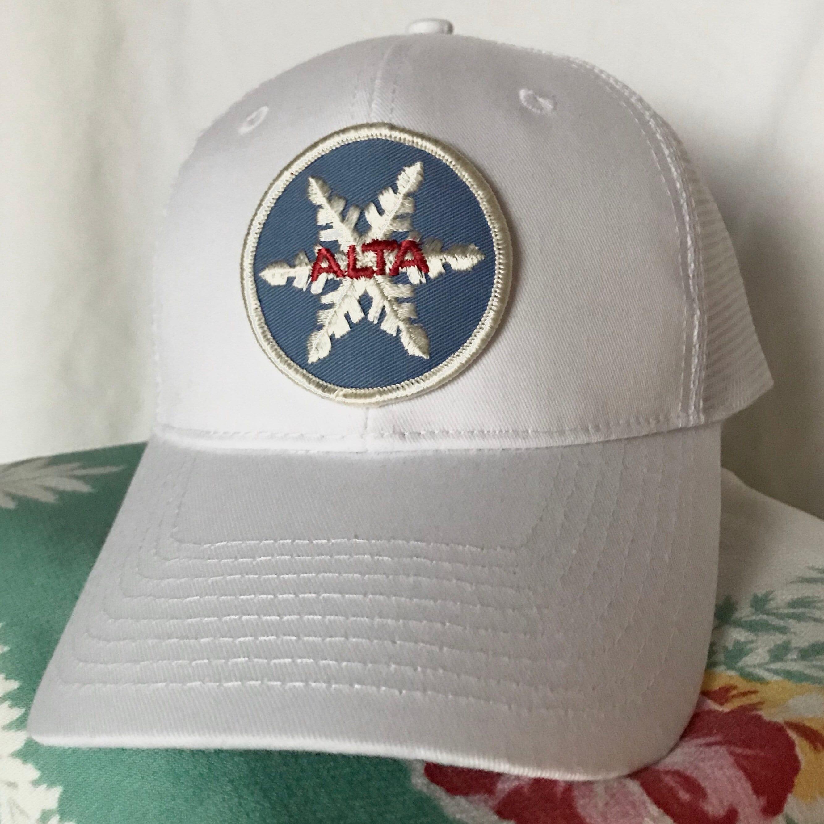 958d46d4657ab ... switzerland vintage alta ski patch new trucker baseball hat white ski  utah etsy 29857 71872