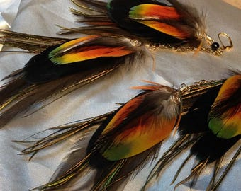 REGGAE Feathers, Long chain feather earrings with natural colored macaw feathers & gold wire wrap spirals