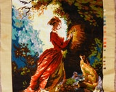 Vintage Large Needle Point Tapestry Girl with Dog