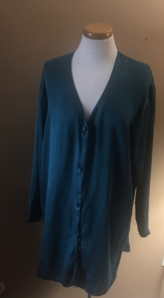 Victoria Secret Silk Teal Night Shirt  P/S