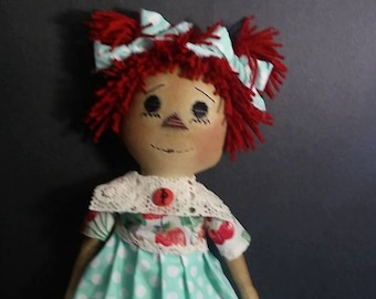 "Primitive Raggedy Annie ""Annie Plain and Tall"" PDF sewing pattern 22 inches tall"