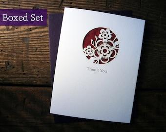 Laser Cut & Letterpress Floral Thank You Cards - Boxed Sets