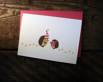 Letterpress Printed Hedgehog Valentine Card - single