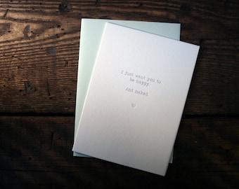 "Letterpress Printed ""Happy & Naked"" Card - single"