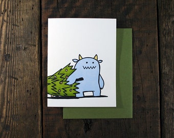Letterpress Monster Duo with Christmas Tree Card - single