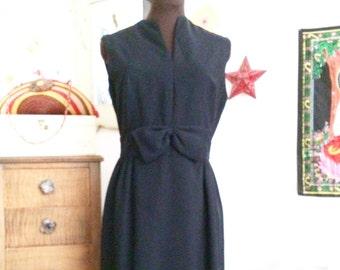 Vintage Little Black Dress, Classic LBD, 1960's Style Wiggle Dress, Custom Black Dress with Bow