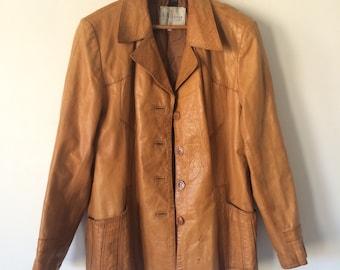 83a09e760b 1970s Leather Car Coat