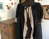 Vintage Black Lace Bed Jacket, MId Century Robe or Duster, Ivory Lace Trim and Short Bell Sleeves
