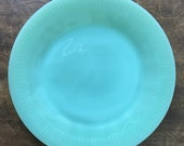 Fire King Jane Ray Luncheon or Salad Plate Green Milk Glass Vintage Glass 1940 39 s