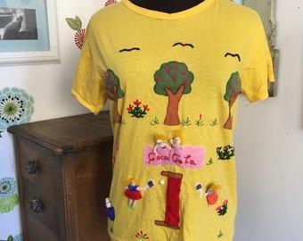 Vintage Capeli T-Shirt Yellow Embroidered Folk Art Tee Park Tennis Theme 3D Shirt