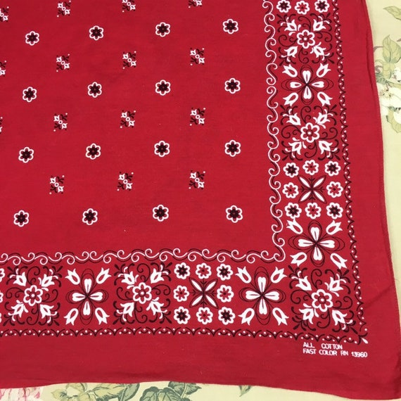 Vintage Bandana, Turkey Red Color Fast 100% Cotton