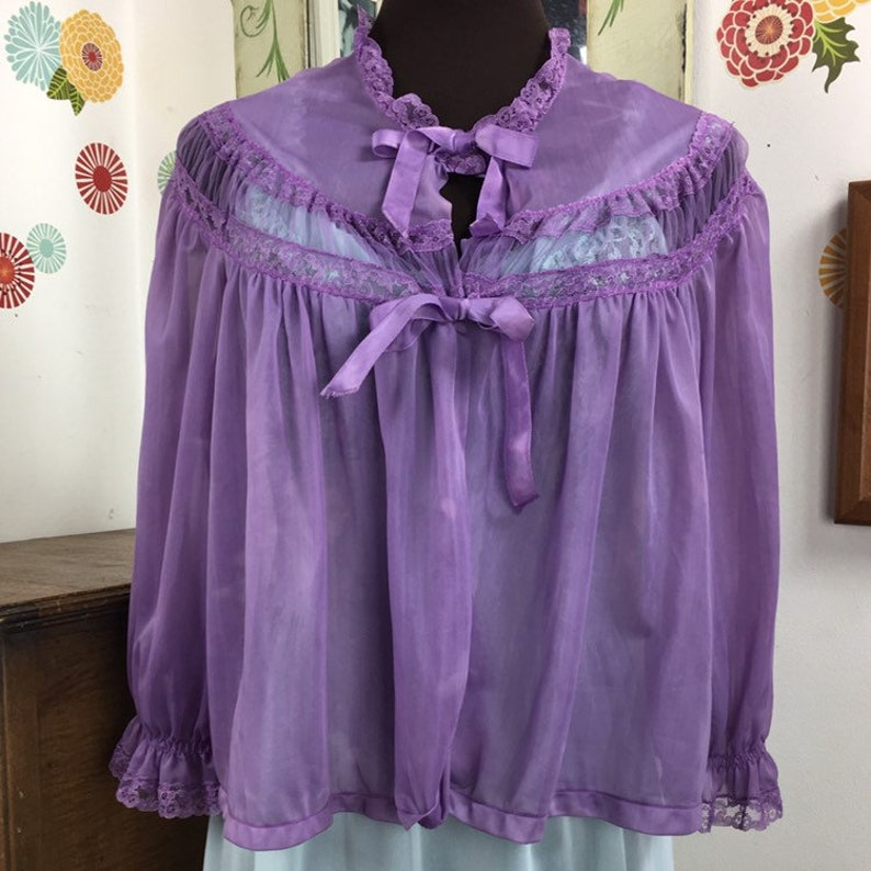 Hand Dyed Pajama Top Vintage Bed Jacket Semi Sheer Pajama Jacket Mid Century Lingerie Pin Up Girl Style Lavender Night Top